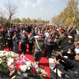 Mourners commemorating those who lost their lives during the Halabja chemical attack. (Photo via Getty Images)
