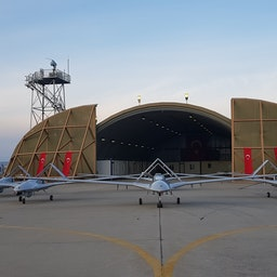 5 Bayraktar TB2 (Armed Unmanned Aerial Vehicle) in Istanbul, Turkey on Feb. 22, 2021 (Photo via Getty Images)