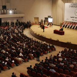 Lawmakers sit for the first session of the Iraqi parliament, Baghdad, Iraq, on June 14, 2010.  (Photo via Getty Images)