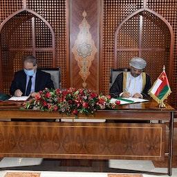 Oman's Foreign Minister, Sayyid Badr bin Hamad bin Hamood Al Busaidi, meets his Syrian counterpart Faisal Mekdad in Muscat, Oman on March 21, 2021 (Photo via Getty Images)