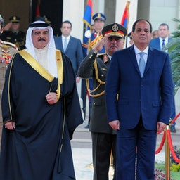 Bahrain's king is welcomed by Egypt's president in Cairo on March 27, 2017 (Photo via Getty Images)