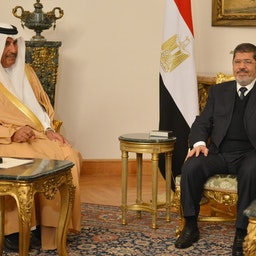 Egypt's President Mohamed Morsi meets Qatar's Foreign Minister Hamad bin Jassim Al-Thani  in Cairo on Jan. 8, 2013 (Photo via Getty Images)