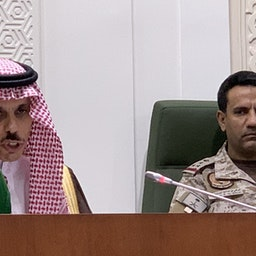 Saudi Arabia's foreign minister speaks at a press conference in Riyadh, Saudi Arabia on March 22, 2021. (Photo via Getty Images)