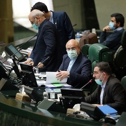 Speaker Mohammad Baqer Qalibaf (second from right) addresses an open session of parliament in Tehran, Iran on Feb.19, 2021 (Photo by Seyed Mahmoud Hosseini via Tasnim News Agency)