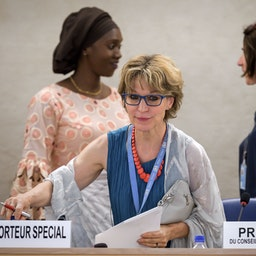 The UN Special Rapporteur on Extrajudicial, Summary or Arbitrary Executions Agnès Callamard in Geneva, Switzerland on June 26, 2019 (Photo via Getty Images)