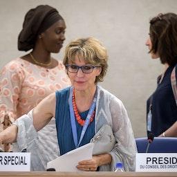 اگنس کالامارد، گزارشگر ویژهی سازمان ملل در امور اعدامهای خارج از صلاحیت دادگاه، فوری یا خودسرانه؛ سوییس، ۵ تیر ۱۳۹۸/ ۲۶ ژوئن ۲۰۱۹(عکس از گتی ایمیجز)