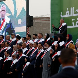Hadi Al-Ameri speaking at a campaign rally in the city of Basra on Apr. 21, 2018. (Photo via Getty Images)