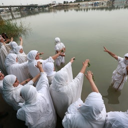 Iraqi Sabaean-Mandaeans perform rituals on the banks of the Tigris River. Baghdad, Iraq, March 15, 2021. (Photo via Getty Images)