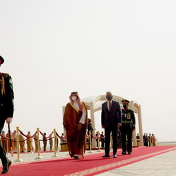 Iraq's prime minister arrives in Saudi Arabia on his first official visit, recieved by the Saudi crown prince in Riyadh on March 31, 2021. (Source: Iraqi prime minister's media office)