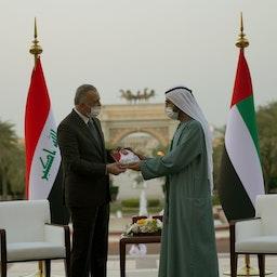 Iraq's prime minister meets with Dubai's ruler in the United Arab Emirates on Apr. 4, 2021.  (Photo via Iraqi prime minister's media bureau)