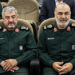 حضور سردار جعفری(سمت چپ) و سردار سلامی (سمت راست) در مراسمی در تهران، ایران. ۴ اردیبهشت ۱۳۹۸. (عکس از حامد ملک پور از خبرگزاری تسنیم)