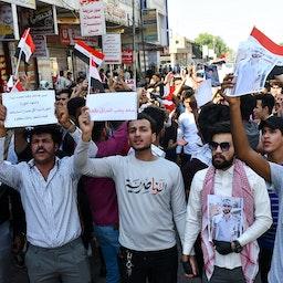 Iraqi demonstrators in the southern city of Nasiriya on Oct. 28, 2020. (Photo via Getty Images)