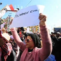Women protest against the government at Tahrir Square in Baghdad, Iraq on Feb. 13, 2021. (Photo via Getty Images)
