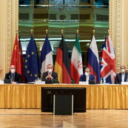 Representatives of the European Union (L) and Iran (R) attend the Iran nuclear talks at the Grand Hotel in Vienna, Austria on Apr. 6, 2021. (Photo via Getty Images)