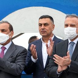 حضور نخستوزیر عراق مصطفی الکاظمی و مقامات دیگر در مراسم بندر بزرگ فاو، ۲۲ فروردین ۱۴۰۰/ ۱۱ آوریل ۲۰۲۱. (عکس از گتی ایمیجز)