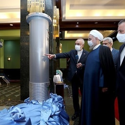 "Iran's President Hassan Rouhani tours an exhibition displaying Iran's nuclear ""achievements."" Tehran, April 10, 2021. (Photo via president.ir)"