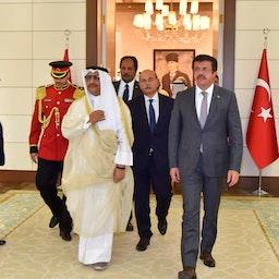 Kuwait's former prime minister, Jaber Al-Mubarak Al-Hamad Al-Sabah, during a state visit to Turkey on Sept. 14, 2017 (Photo via Getty Images)