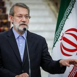 Ali Larijani speaks during a press conference in Tehran, Iran on Sep. 26, 2016. (Photo by Majid Haghdoust via Tasnim News Agency)
