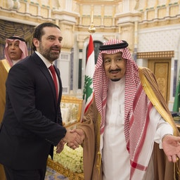 Saudi Arabia's King Salman bin Abdulaziz Al Saud welcomes Lebanon's then-Prime Minister Saad Hariri in Riyadh on Feb. 28, 2018 (Photo via Getty Images)