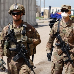 Soldiers from the US-led coalition forces at K1 air base in Kirkuk, Iraq. March 29, 2020. (Photo via Getty Images)