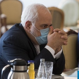 Foreign Minister Mohammad Javad Zarif at a meeting in Tehran, Iran on Feb. 21, 2021. (Photo by Mohammad Reza Abbasi via Mehr News Agency)