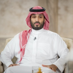 Saudi Crown Prince Mohammed bin Salman sits for an interview with Saudi national television in Riyadh, (aired) on April 27, 2021. (Source: Saudi Royal Council via Getty Images)