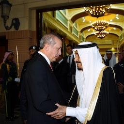 Saudi King Salman bin Abdulaziz Al Saud bids farewell to Turkish President Recep Tayyip Erdoğan in Riyadh on March 2, 2015. (Photo via Getty Images)