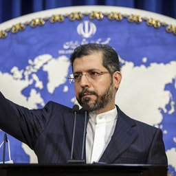 Iranian foreign ministry spokesperson Saeed Khatibzadeh at a press conference in Tehran. January 4, 2021. (Photo by Shahab Qayyoumi via Mehr News Agency)