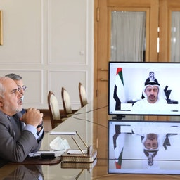 Iranian Foreign Minister Mohammad Javad Zarif holds a video conference with his UAE counterpart Abdullah bin Zayed Al Nahyan in Tehran on Aug. 2, 2020 (Photo via Twitter/@Jzarif)