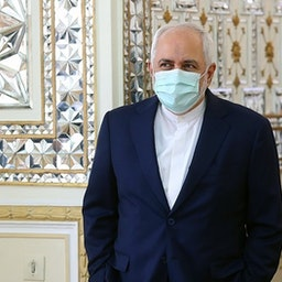 Foreign Minister Mohammad Javad Zarif at the foreign ministry in Tehran. Dec. 22, 2020. (Photo by Mohammad Hassanzadeh via Tasnim News Agency)