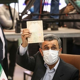 Former Iranian president Mahmoud Ahmadinejad registers to run in the June 18 presidential elections at the interior ministry in Tehran. May 12, 2021. (Photo by Hossein Zohrehvand via Tasnim News Agency)
