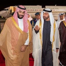 Saudi Crown Prince Mohammed bin Salman (L) is welcomed by Crown Prince of Abu Dhabi Mohammed bin Zayed al-Nahyan at Abu Dhabi airport, United Arab Emirates on Nov. 22, 2018. (Photo via Getty Images)