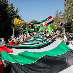 Iranians rally in solidarity with Palestinians amid violence in Gaza. Tehran, Iran on May 13, 2021. (Photo by Masoud Shahrestani via Tasnim News Agency)