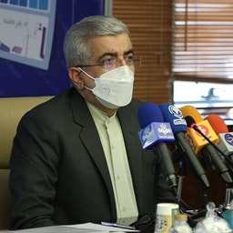 Iranian Energy Minister Reza Aradakanian addresses an electricity project ceremony in Tehran. May 18, 2021. (Photo via Iran's energy ministry website)