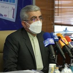 وزير الطاقة الإيراني رضا أرادكانيان يلقي كلمة في حفل مشروع الكهرباء في طهران. 18 مايو/أيار 2021 (الصورة من موقع وزارة الطاقة الإيرانية)