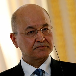 Iraqi President Barham Salih appears at a press conference in Paris on Feb. 25, 2019. (Photo via Getty images)