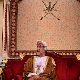 Oman's Sultan Haitham bin Tariq at al-Alam palace in the capital Muscat on Feb. 21, 2020. (Photo via Getty Images)