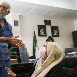 Parents of murdered Iranian filmmaker Babak Khorramdin pictured in Tehran's criminal court on May 19, 2021. (Photo by Amin Ahouei via Tasnim News Agency)
