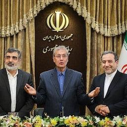 Atomic Energy Organization of Iran spokesman Behrouz Kamalvandi (L), government spokesman Ali Rabiee and senior nuclear negotiator Abbas Araqchi (R) in Tehran on July. 7, 2019. (Photo by Hamed Malekpour via Tasnim News Agency)