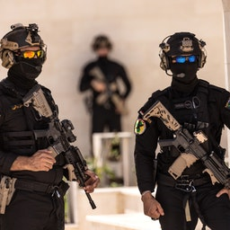 Commandos from the Iraqi Counter Terrorism Service stand guard at their headquarters on May 31, 2021 in Baghdad, Iraq. (Photo via Getty Images)