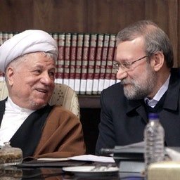 Ali Larijani and Akbar Hashemi Rafsanjani at a summit in Tehran.  Dec. 29, 2013. (Photo by Mohammad Kazempour via Nasim News Agency)