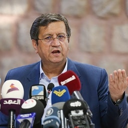 Iranian presidential candidate Abdolnaser Hemmati at a press conference in Tehran on June. 2, 2021. (Photo by Amin Ahoui via Tasnim News Agency)