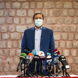 Iranian presidential candidate Abdolnaser Hemmati poses for cameras at a press conference in Tehran on June 1, 2021. (Photo by Amin Jalali via IRNA News Agency)
