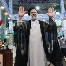 Iranian President-elect Ebrahim Raisi after casting his ballot in Tehran on June. 18. 2021. (Photo by Meqdad Madadi via Tasnim News Agency)