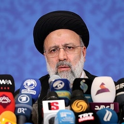Iranian President-elect Ebrahim Raisi at his first press conference in Tehran. June. 21. 2021. (Photo by Meqdad Madadi via Tasnim News Agency)