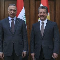 استقبال مسرور بارزانی، نخستوزیر اقلیم کردستان (راست)، از نخستوزیر عراقل، مصطفی الکاظمی؛ اربیل، ۲۰ شهریور ۱۳۹۹/ ۱۰ سپتامبر ۲۰۲۰. (عکس از گتی ایمیجز)