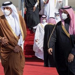 Saudi Crown Prince Mohammed bin Salman (R) welcomes Qatar's Emir Sheikh Tamim bin Hamad Al Thani ahead of the 41st GCC summit in Al-Ula, Saudi Arabia on Jan. 05, 2021. (Photo via Getty Images)