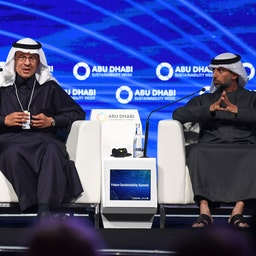 Saudi Energy Minister Abdulaziz bin Salman Al Saud (L) and his Emirati counterpart Suhail al-Mazrouei attend a summit in Abu Dhabi on Jan. 14, 2020. (Photo via Getty Images)