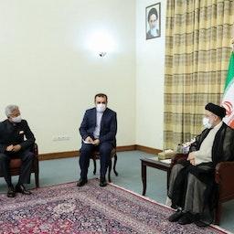 Iran's president-elect Ebrahim Raisi receives India's Minister of External Affairs Subrahmanyam Jaishankar in Tehran on July 7, 2021. (Photo via www.raisi.ir)