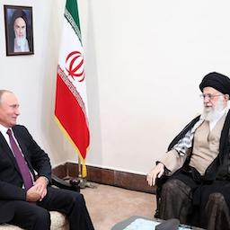 Iran's Supreme Leader Ayatollah Ali Khamenei (R) speaks with Russia's President Vladimir Putin in Tehran on Sept. 7, 2018. (Photo via Leader.ir)